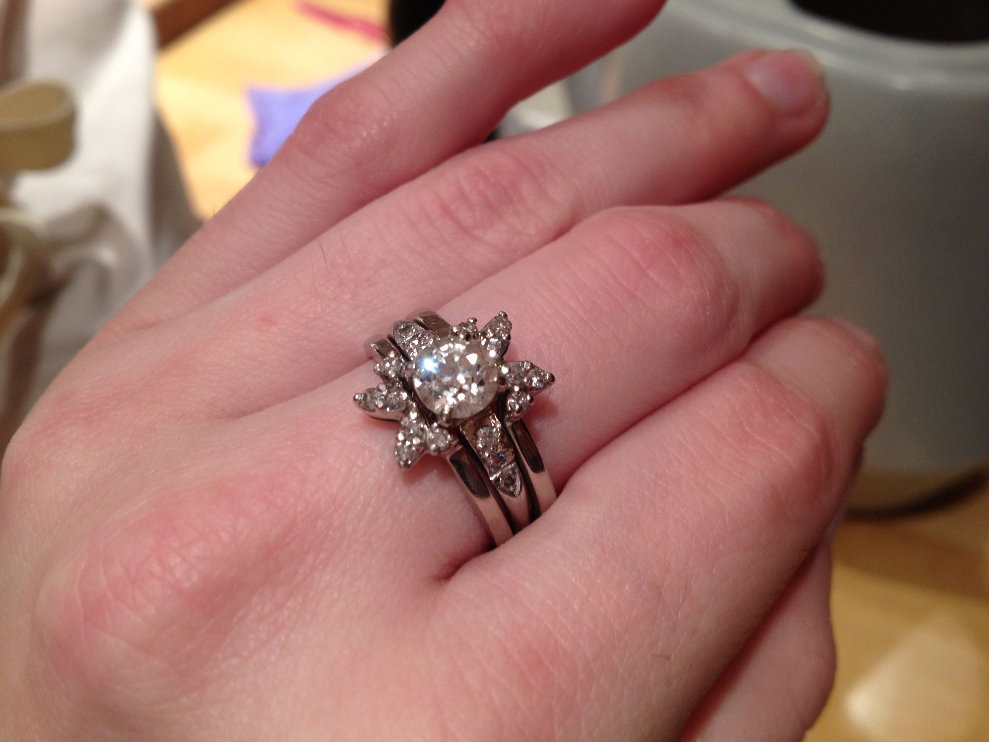 My sister-in-law\'s amazing vintage wedding ring set. It belonged to ...