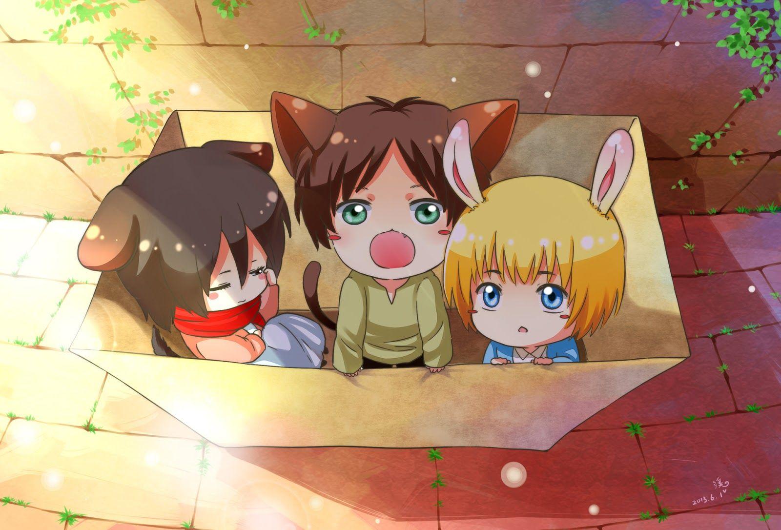 Shingeki No Kyojin Mikasa Eren Armin Ilustrasi Komik Gambar Karakter Animasi