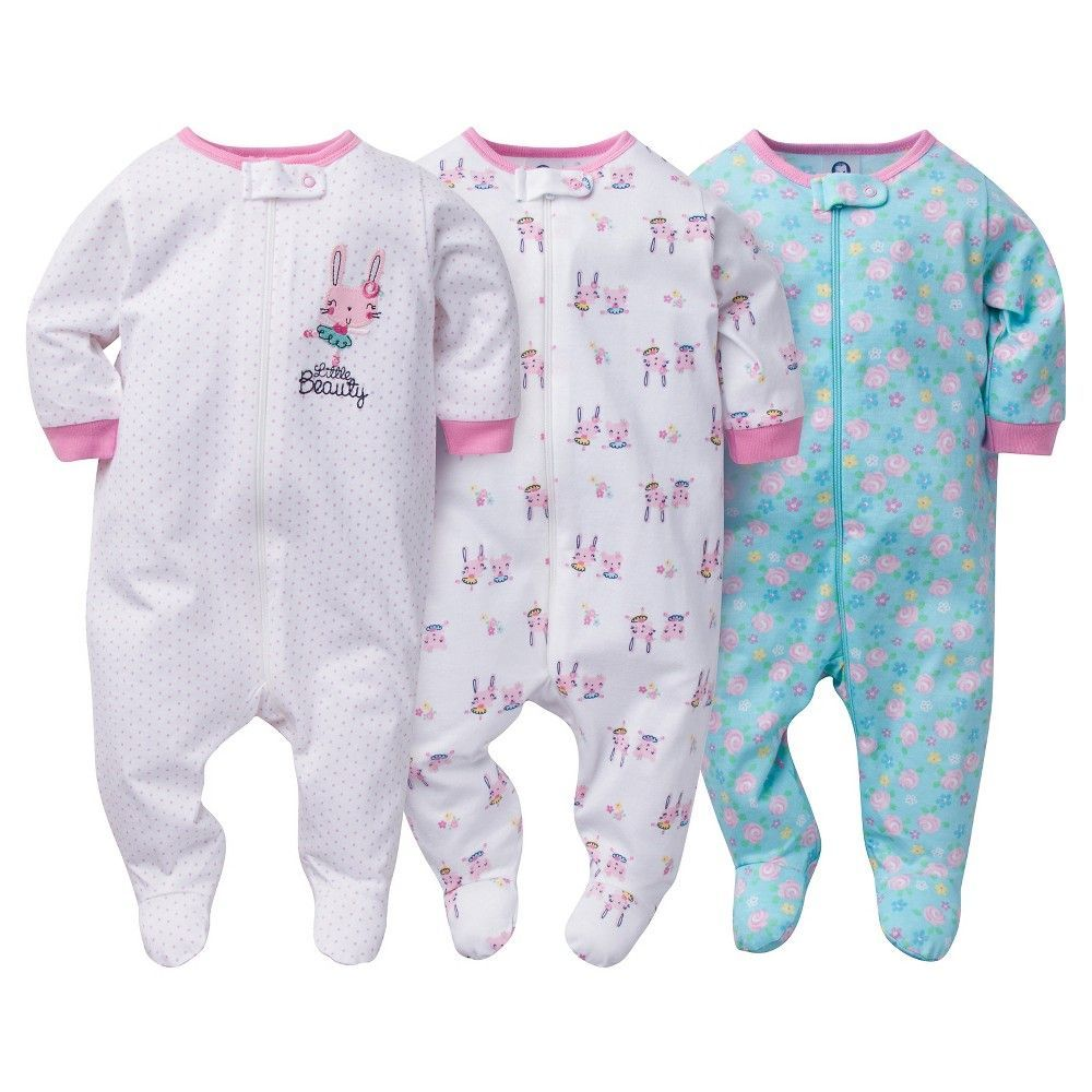 c079a25d71 Baby Girls  3 Pack Zip Front Sleep N Play Bunny - Gerber