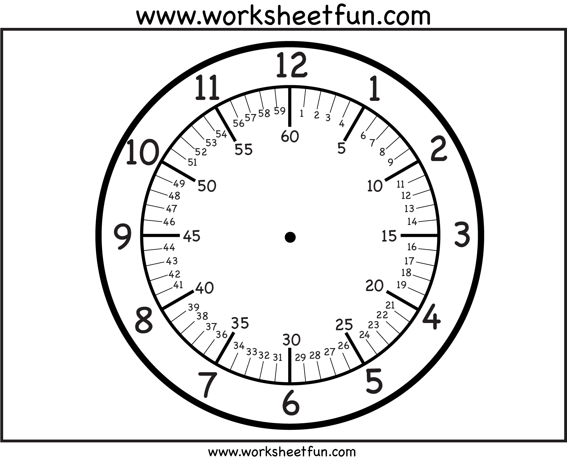 Free printable clock faces with minutes – Clock Face Template