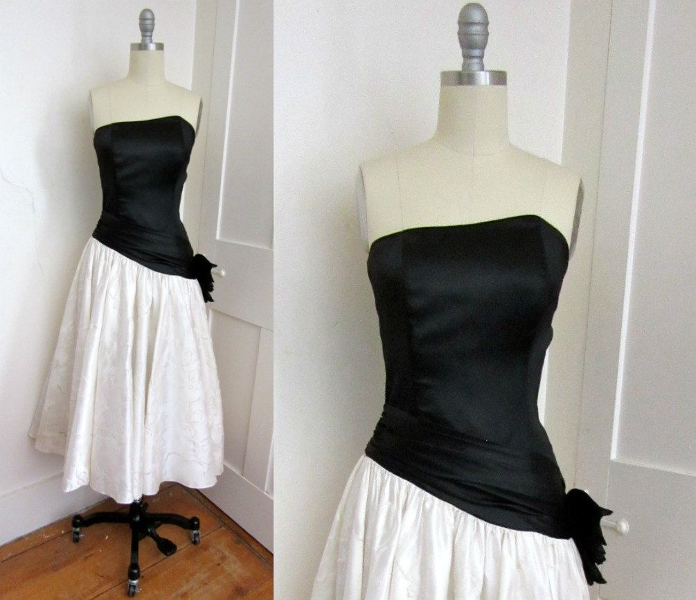 S black and white satin prom dress strapless crinoline