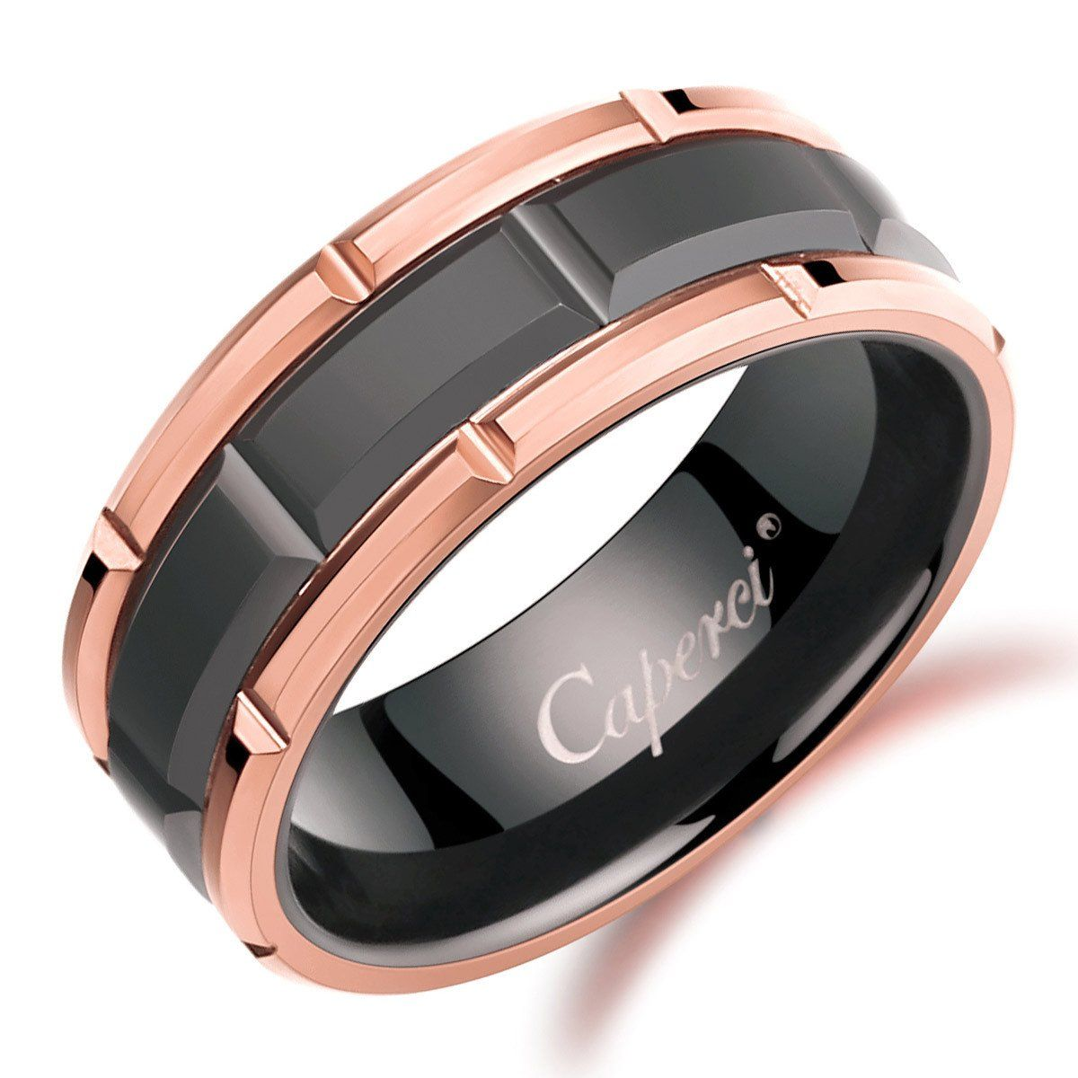 gold tungsten wedding bands Caperci Men s 8mm Black Tungsten Wedding Band Ring with Brick Pattern Rose Gold Rims