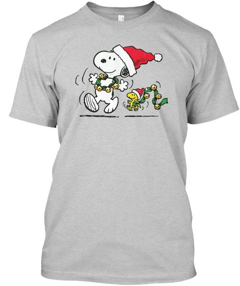 cd2850979 Snoopy Christmas And Woodstock Light Steel T-Shirt Front