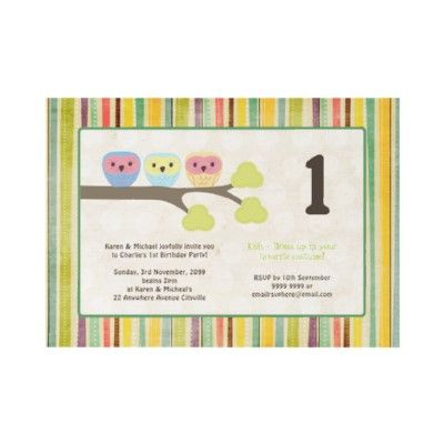 personalized cute owls birthday invites