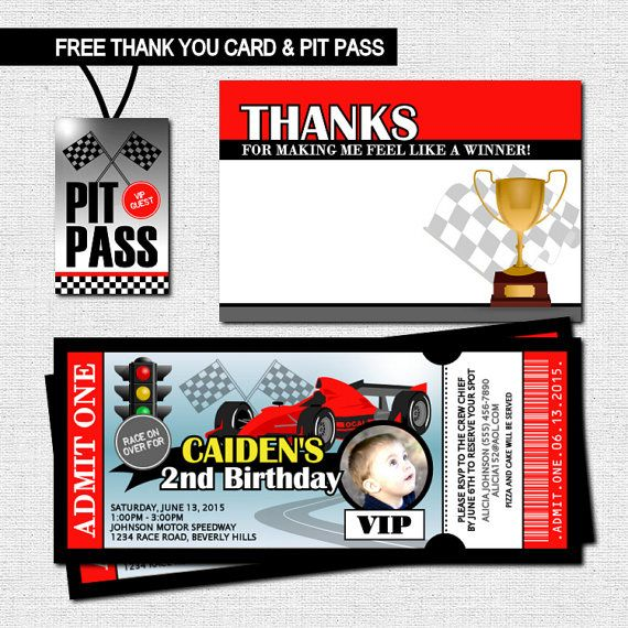 Race Car Ticket Invitation Birthday Party Thank You Card and VIP