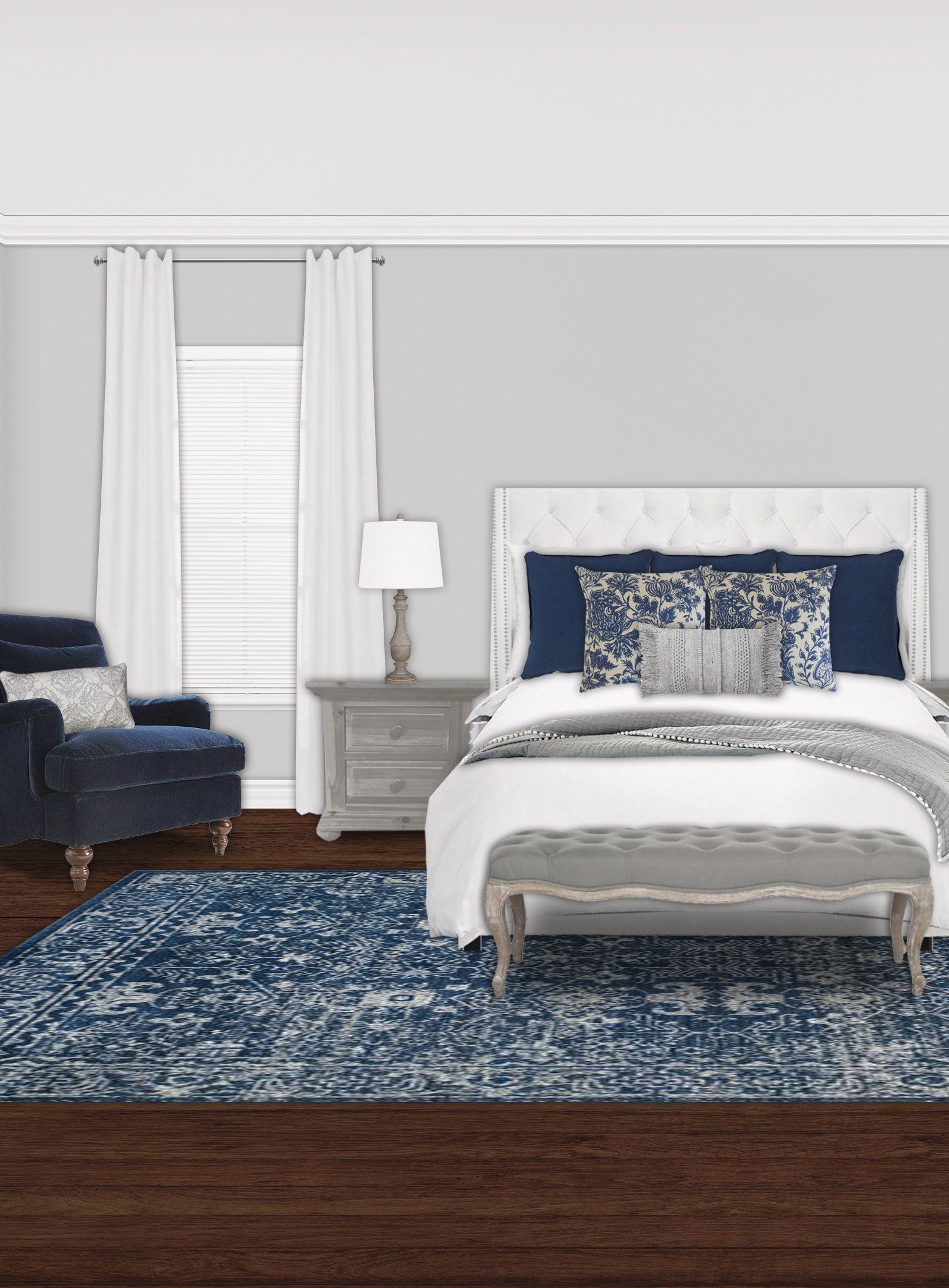 Navy Blue Rustic Elegant Gray White Master Bedroom