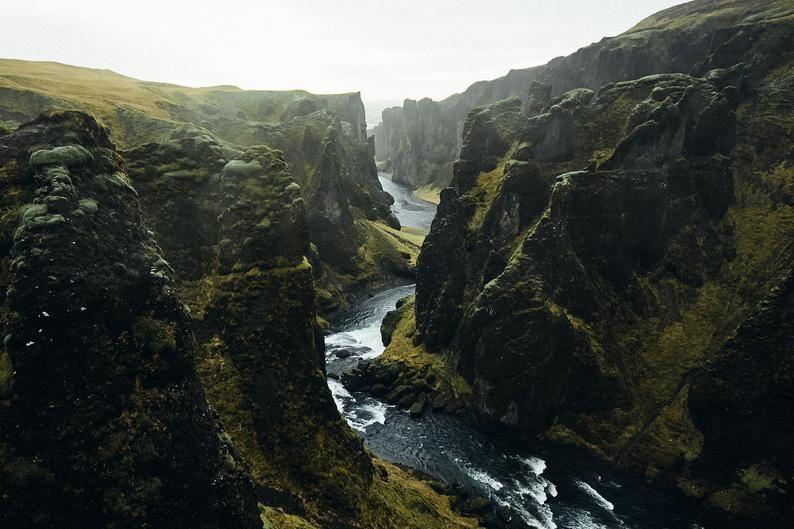 Scandinavian Mountain Landscape Nordic River Home Decor Large Horizontal Nature Wall Art Dark Green Iceland Canyon Photography Print