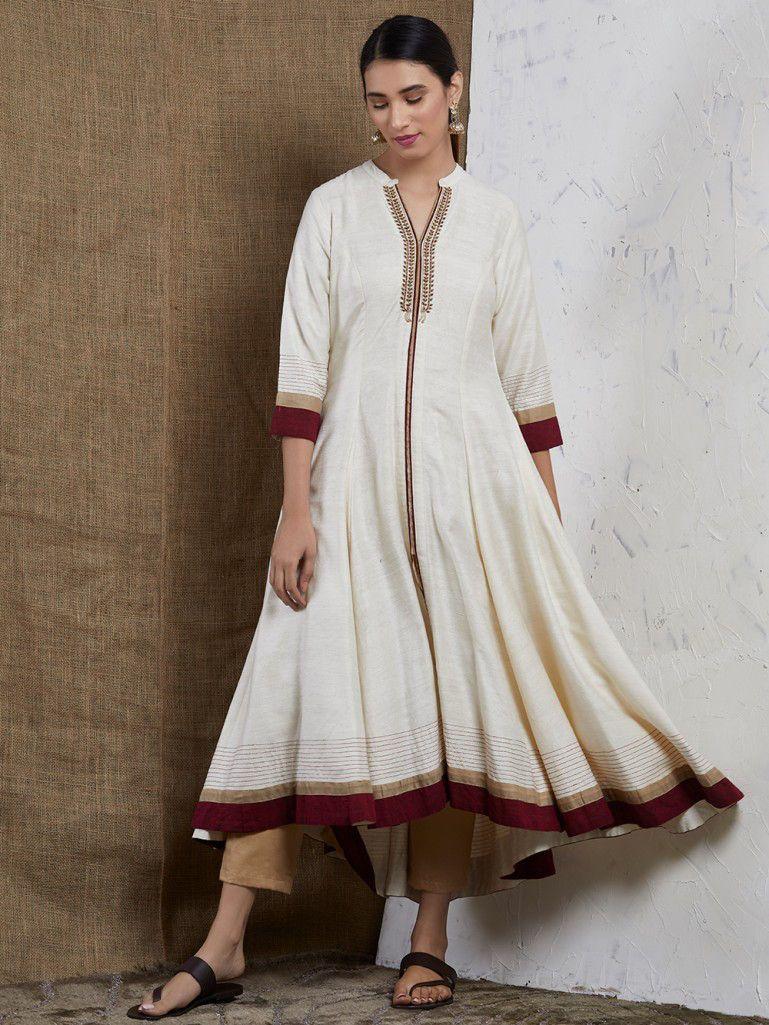 Offwhite Women/'s Khadi Kurta  34 Sleeve Cotton Kurta  Women/'s Summer Tunic  Indian Women/'s Kurta  Gift For Her  Sustainable Clothing