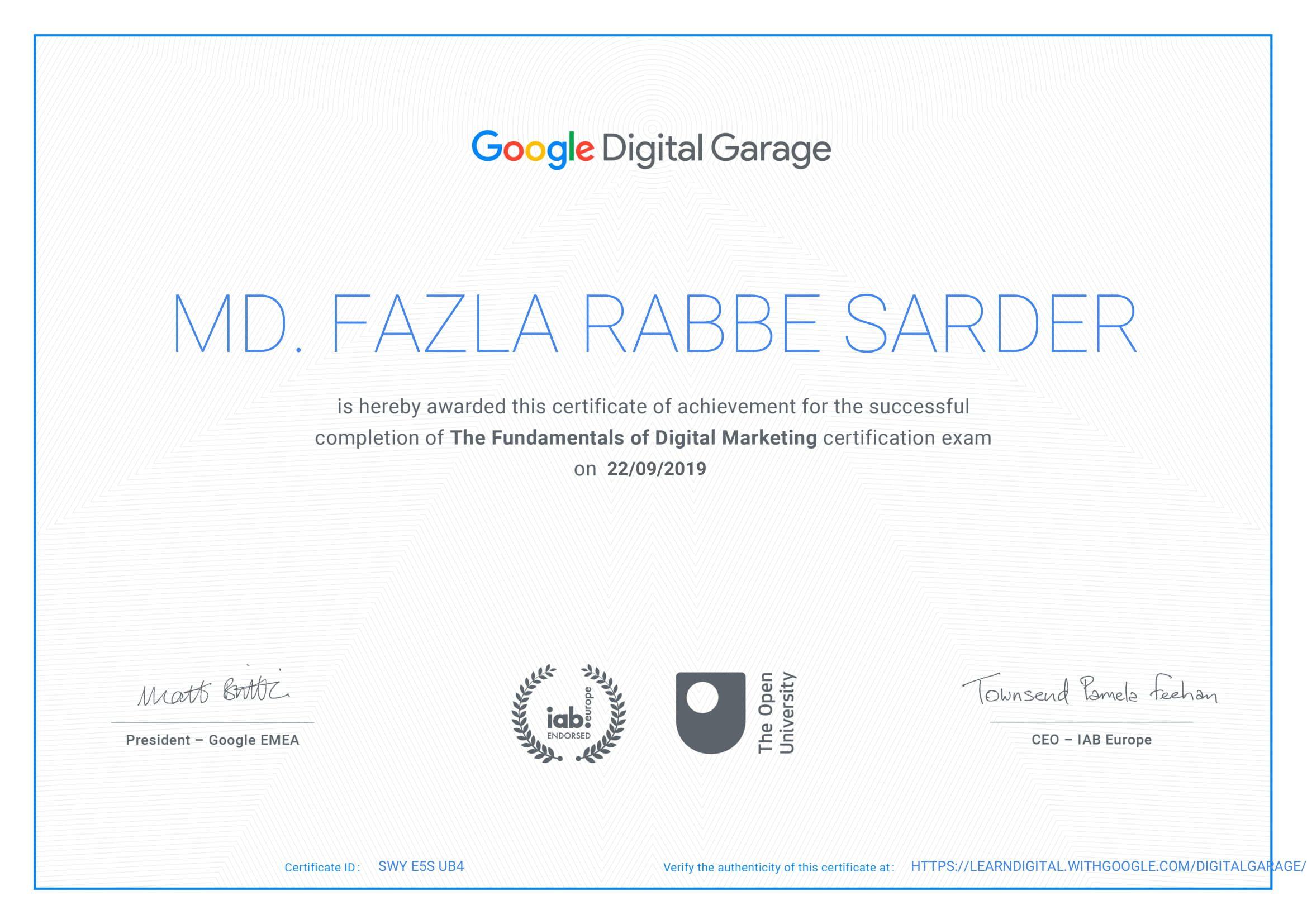 Md Fazla Rabbe Sarder Google Digital Garage Digital Marketing