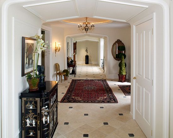 , Traditional Asian Hallway Furniture Ideas With White Wall And Door Color Also Beige Tile Floor With Black Accent Color Also Wonderful Chandelier And Wall Lights Also Classic Mirror Design And Elegant Carpet: Hallway designs to Make Your House Better