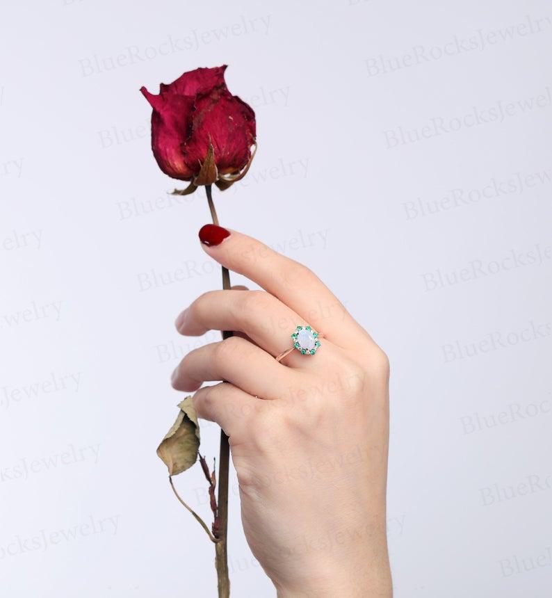 Oval shaped opal engagement ring rose gold emerald wedding | Etsy