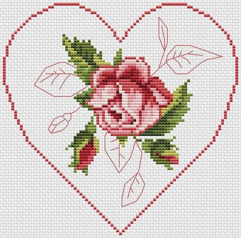 Rose Flower Framed by a Heart | Flower frame, Cross stitch and Stitch