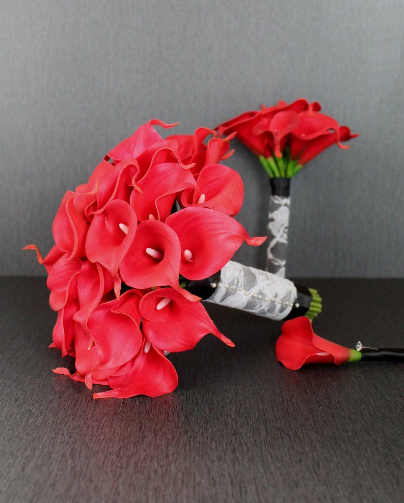 Bright Red Calla Lily Wedding Bouquet Collection | Pinterest | Lily ...