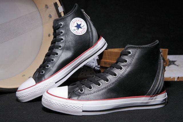 b55b1c9984d Three Zippers Back Converse Leather All Star Chuck Taylor Black High Tops  Winter Boots  D4112302  -  70.00   Discount Converse All Star Sneakers Sale  ...