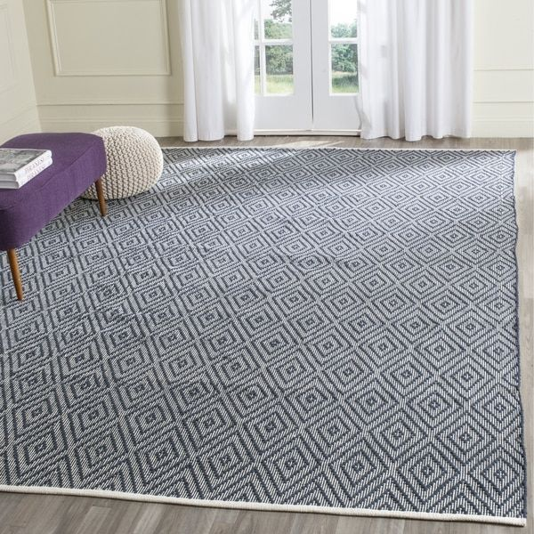 Safavieh Hand Woven Montauk Navy Ivory Cotton Rug 9 X 12 Dining Room