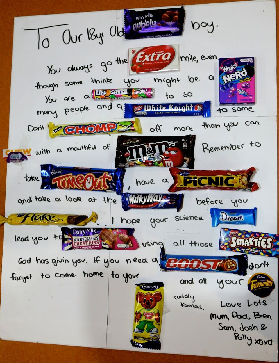An Australian Chocolate poem for our son 18th Birthday – 18th Birthday Card Verses