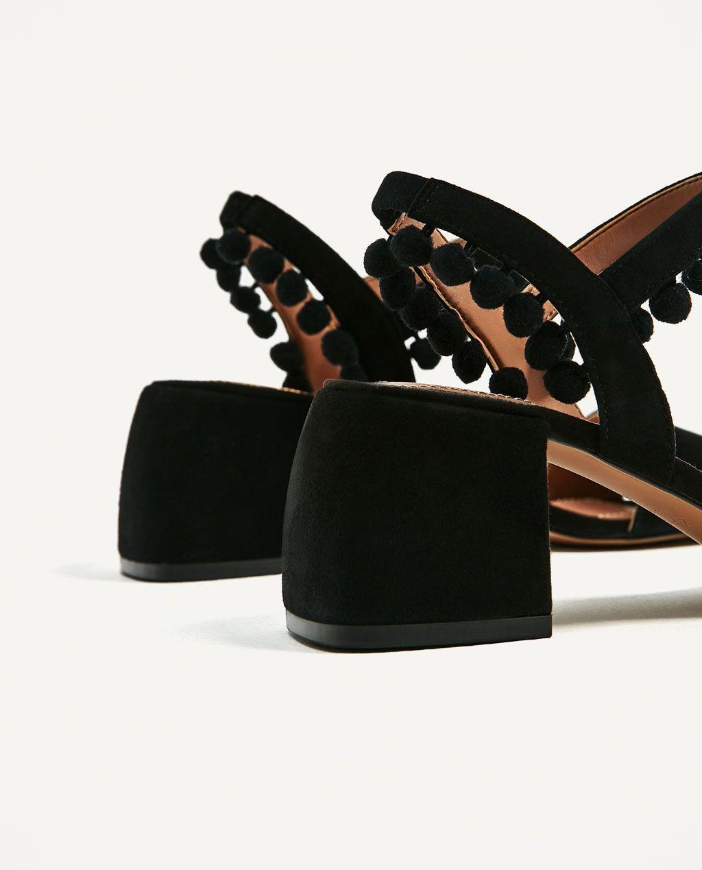 Medio Piel Zapatos RebajasZara Sandalia Mujer Pompones Tacón tsQrChd