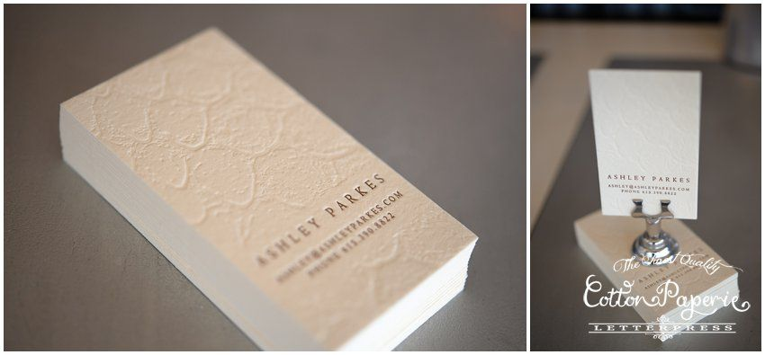 cottonpaperie business cards with blind deboss Creative - letterpress business card