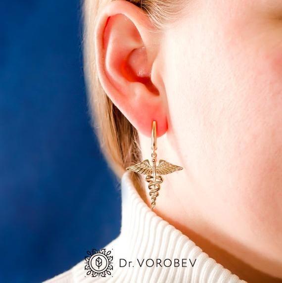 Caduceus Earrings-Vet Earrings-Gift for Doctor-Medical Student Gift-Graduation Gift-Medical Earrings-Gift for Nurse-Gift for Therapist #medicalstudents