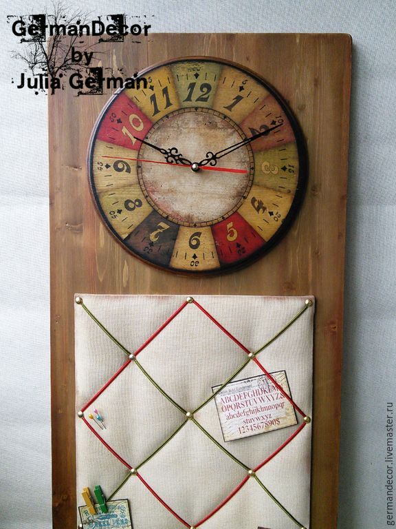 "Купить Часы - Органайзер ""Do what you love..."", часы настенные / Clock handmade"