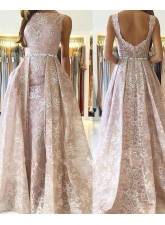 rosa abendkleider lang günstig  a linie spitze abendkleid online modellnummer xy433