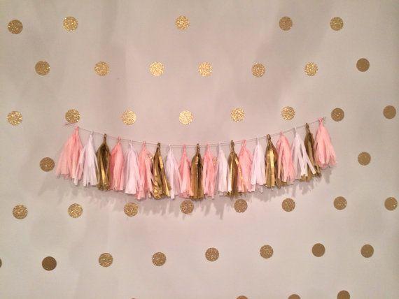 Vintage party princesa borla guirnalda rosa por GlendaArean en Etsy