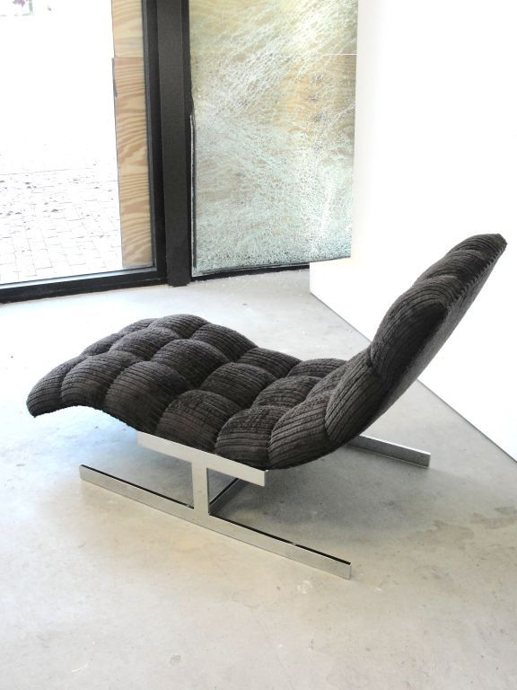 Milo Baughman Chromed Metal Base Chaise Longue 1960s Modern Retro Furniture Mid Century Modern Seating Furniture Design