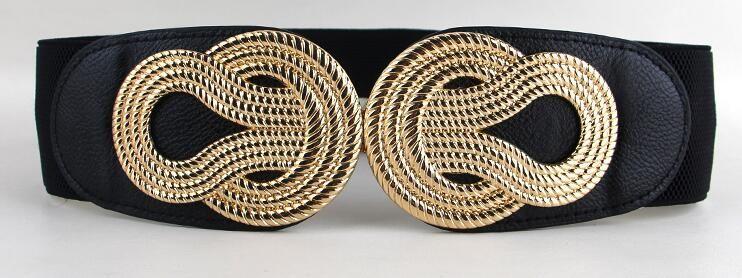 10.21 - Cool HOT Sale Elastic cummerbunds women trendy newest gold metal  big bow buckle cummerbund black PU leather wide waist belts ladies - Buy it  Now! ef9a39116