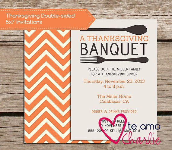 Thanksgiving Banquet Invitations  Printable Thanksgiving Dinner