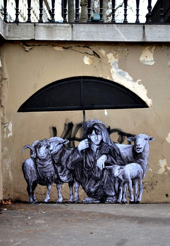 Pastorale : Street Art by Charles Leval The French street artist based in Paris Charles Leval makes beautiful drawings in black and white that he subtly integrates with urban structures he uses as essential elements of his works, a support freely available. http://www.levalet.org