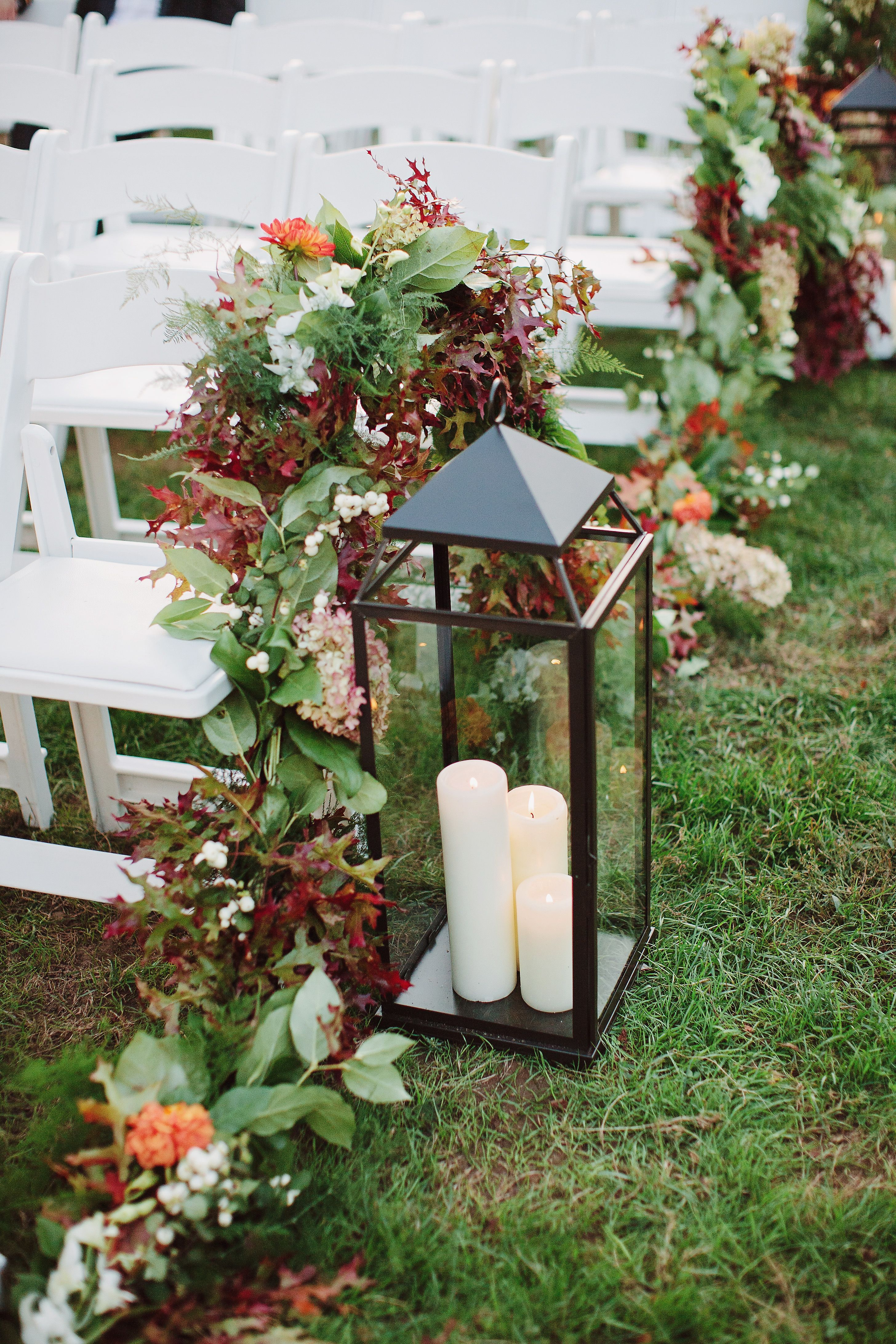 Floral garland aisle decor for a fall outdoor wedding in New York ...