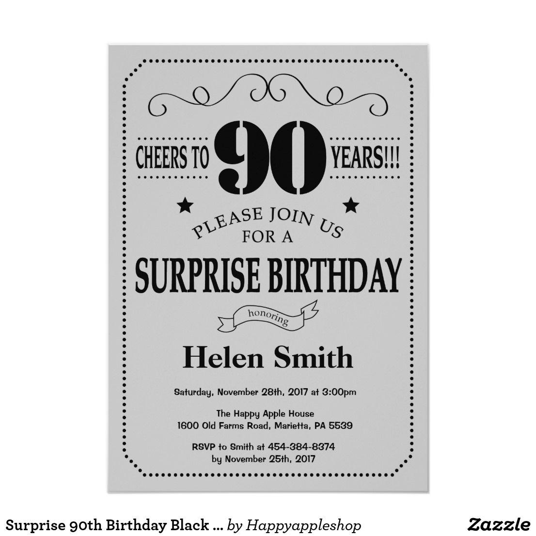 Surprise 90th Birthday Black and Silver Gray Invitation
