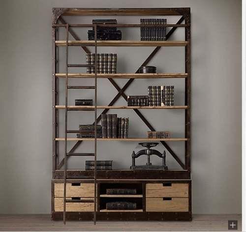Hermosa biblioteca estanteria hierro y madera reciclada for Muebles bibliotecas para living