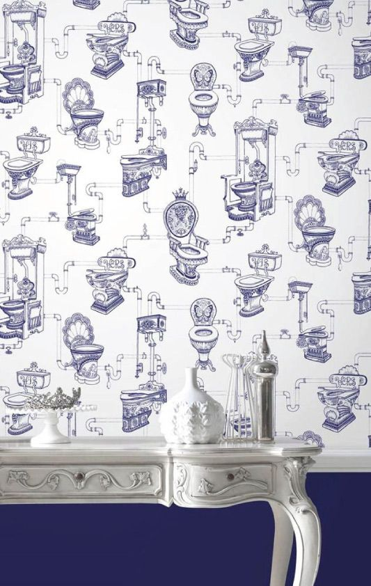 Graham   Brown   Loo Loo Blue Bathroom Wallpaper   50 635. Graham   Brown   Loo Loo Blue Bathroom Wallpaper   50 635