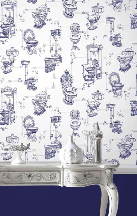 Graham   Brown   Loo Loo Blue Bathroom Wallpaper   50 635. Graham   Brown   Loo Loo Blue Bathroom Wallpaper   50 635