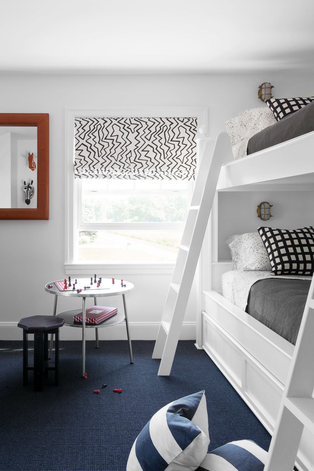 19 Bunk Beds That We Love To The Moon And Back Hunker In 2020 Blue Carpet Bedroom White Bunk Beds Bedroom Carpet