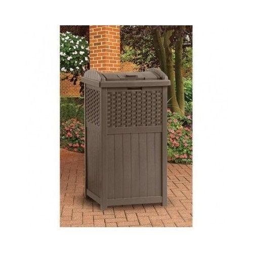 Resin Wicker Trash Can Hideaway Outdoor Suncast Patio Deck Waste Bin Storage  NIB #Suncast