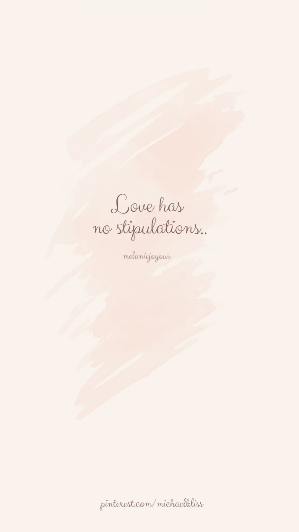 Love has no stipulations