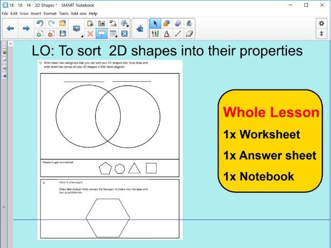 Whole Lesson - 2D shapes - Features - properties - sorting ...