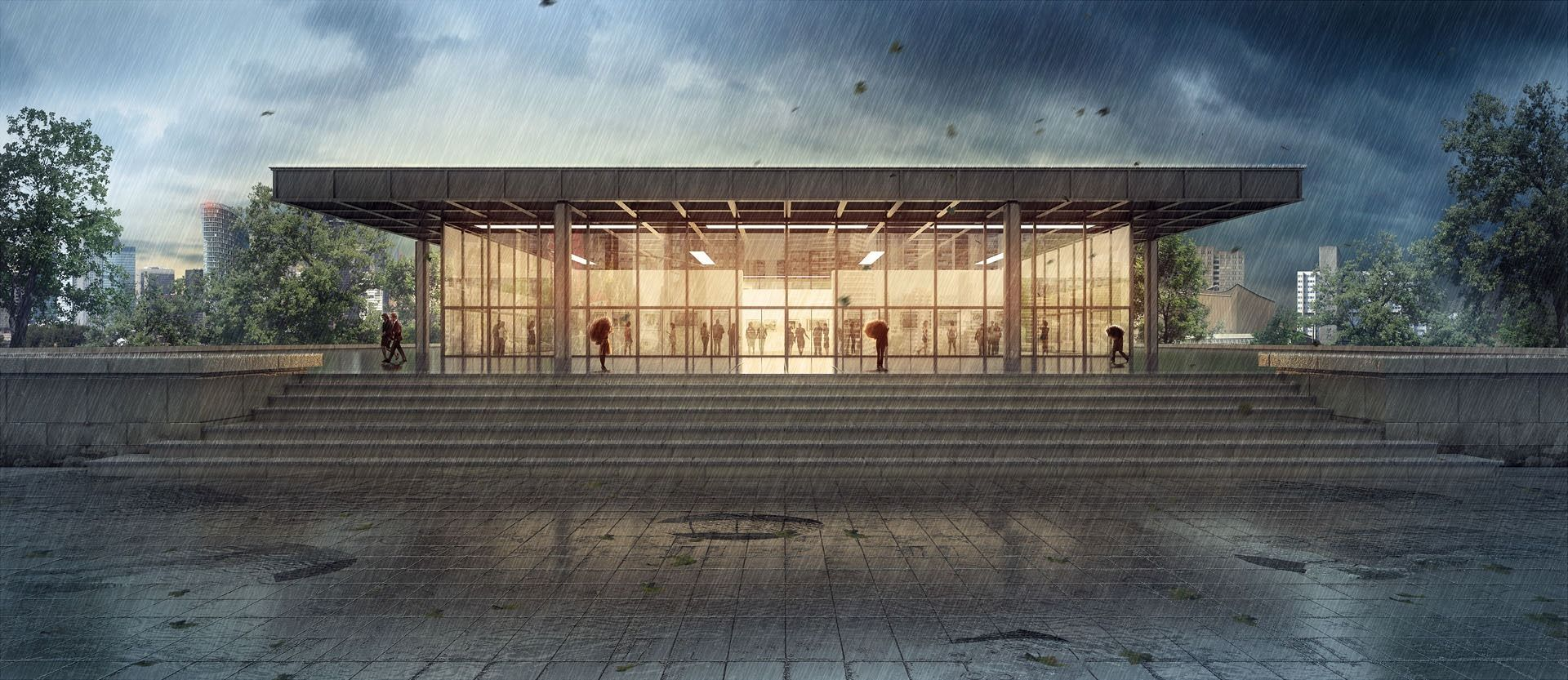 Making of neue nationalgalerie in the rain ronen - 3d architectural visualization ...