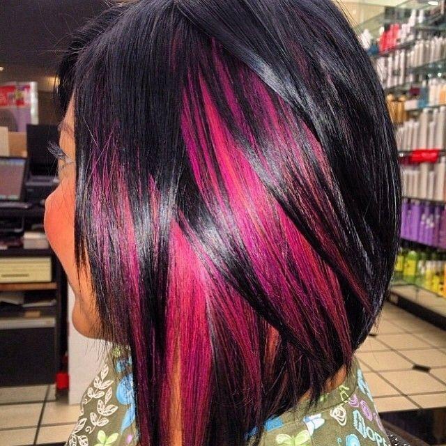 Hot Pink Peekaboos Hair Styles Black Hair With Highlights Hair Highlights