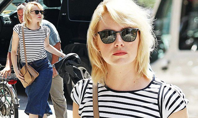 Emma Stone looks effortlessly chic in on-trend denim culottes