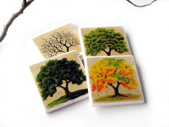 Decorative Tile Coasters Entrancing Four Season Coasters 4 Seasons Oak Tree Table Decor Decorative Decorating Design