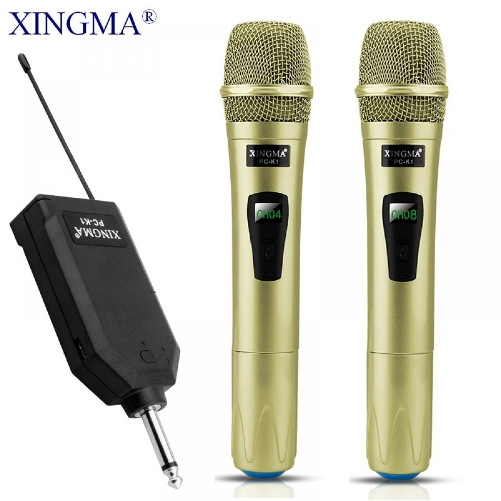 XINGMA PC-K1 Wireless Microphone Professional Handheld 2 Channels Studio Dual VHF Dynamic Mic For Karaoke System Computer KTV #karaokesystem