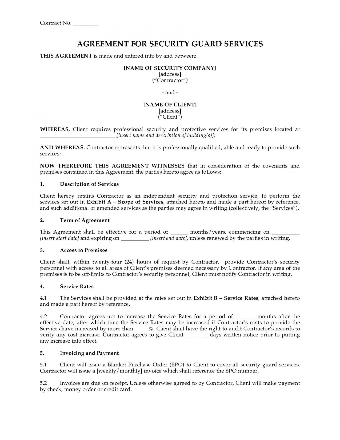 Pin On Agreement Templates Security guard contract agreement template