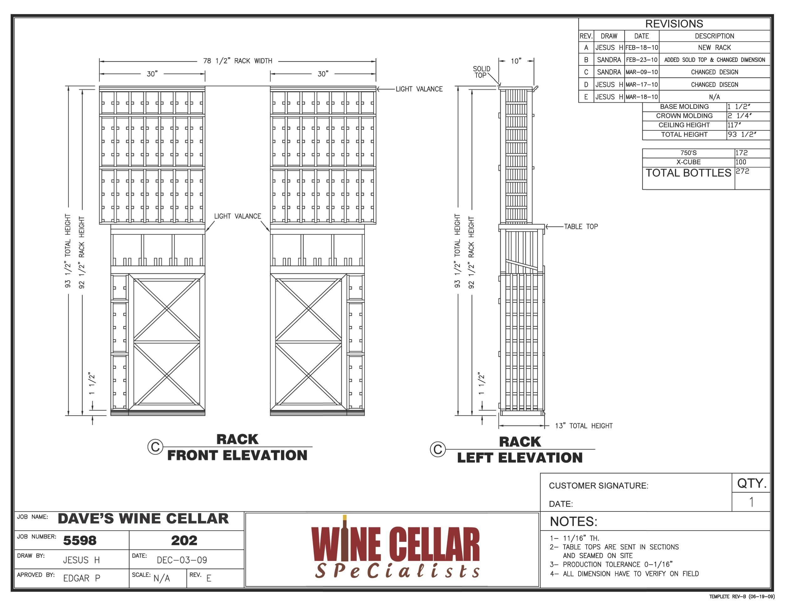 Custom Wine Racks Chicago Illinois Design Drawing Elevation For Dave S Custom Wine Cellar Project View More W Custom Wine Cellars Wine Cellar Custom Wine Rack