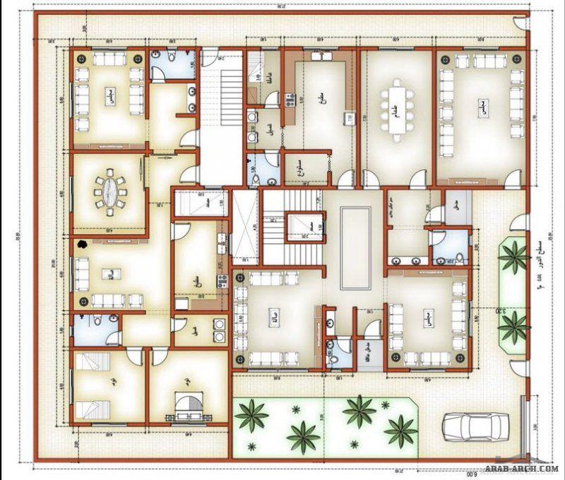 مخطط الدور الارضي والاول فيلا و شقتين سكنية بالخلف Classic House Design U Shaped House Plans Family House Plans