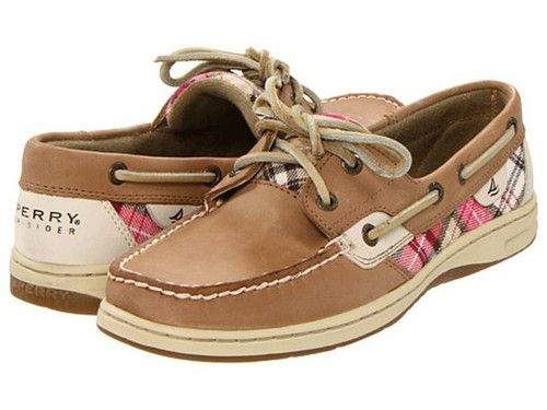 SPERRY TOPSIDERS BLUEFISH LINEN SAND RED PLAID LADIES BOAT SHOE BNIB