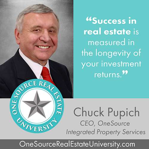 real estate success- longevity of investment returns. Chuck Pupich and OneSource