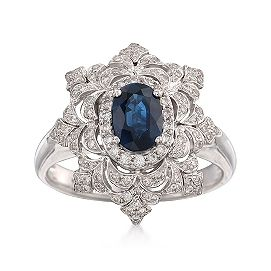 Gorgeous snowflake d diamond blue sapphire ring